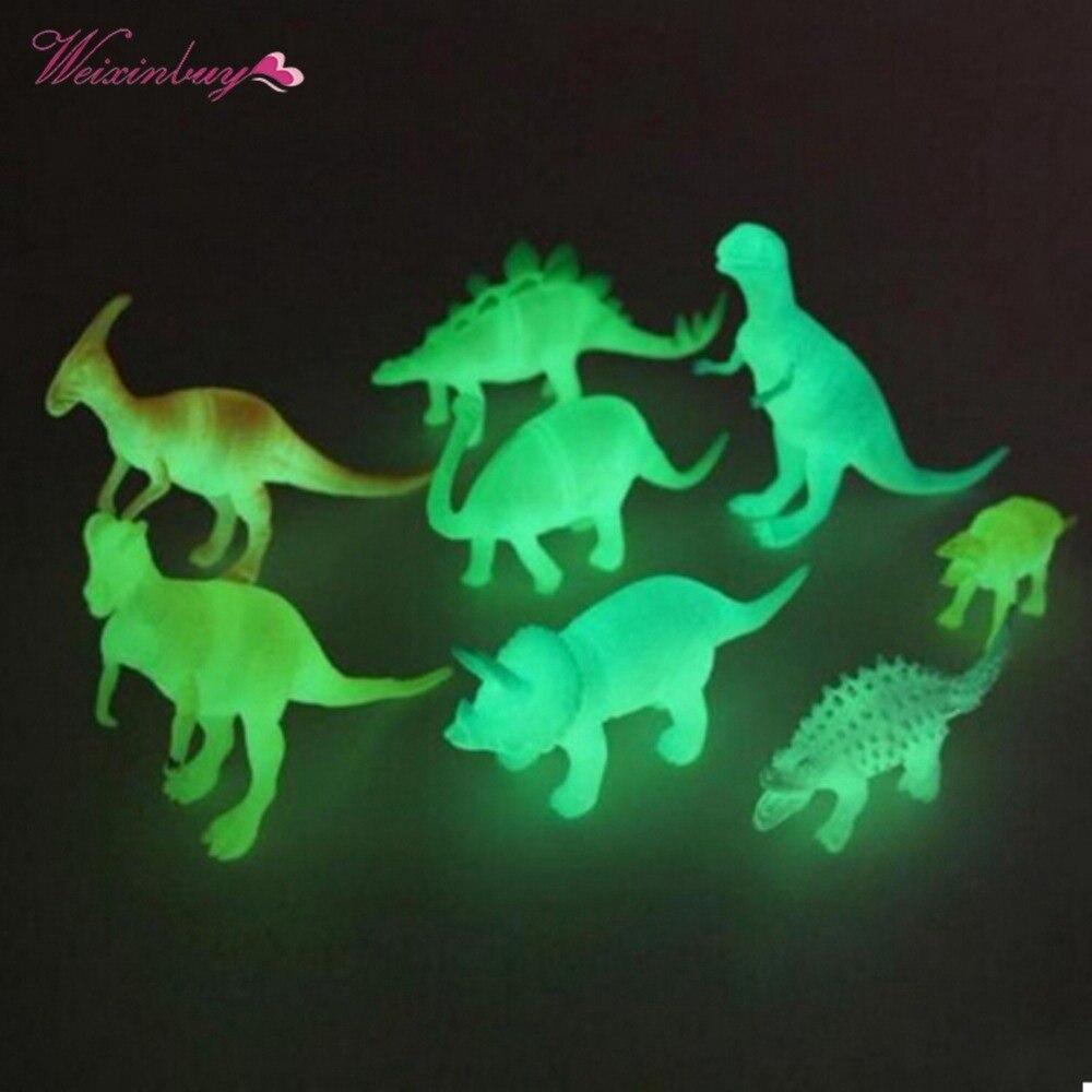 8 pcs/set mixed Night Light Noctilucent Dinosaur Figure Gift Toy for Children