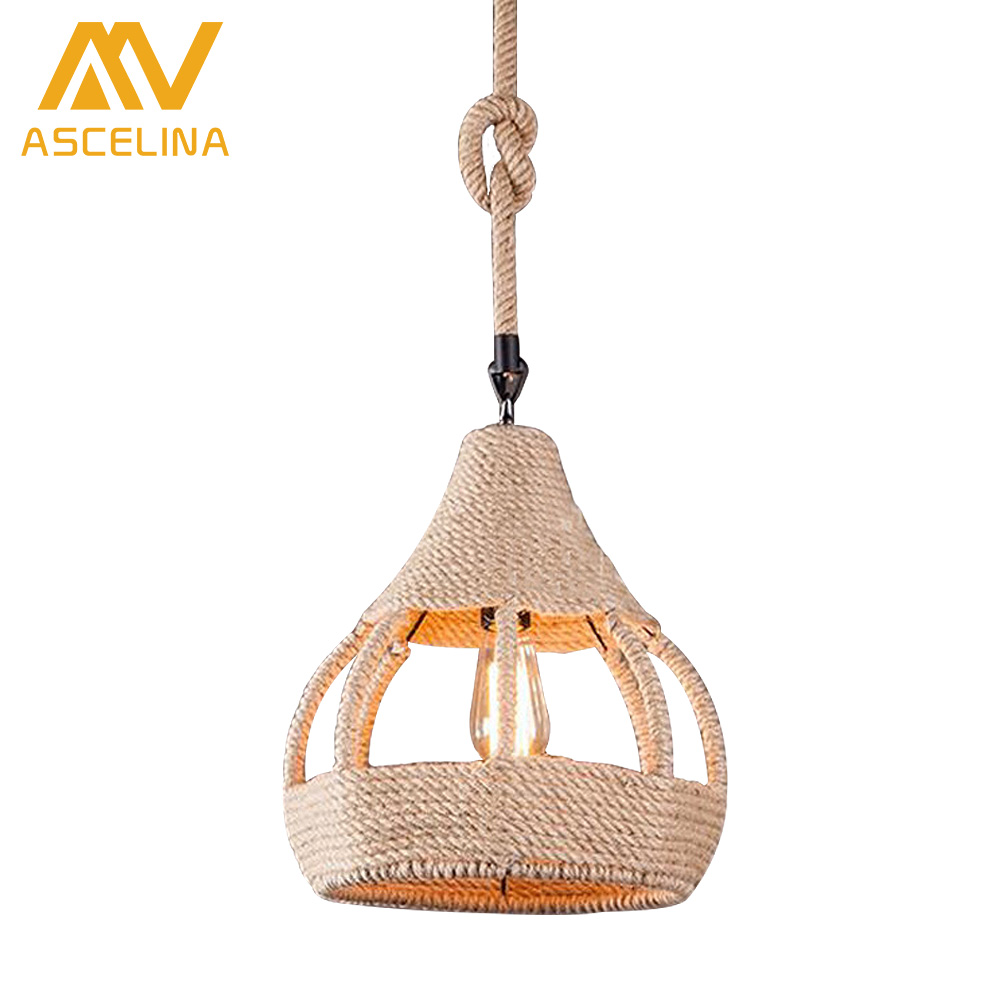 Vintage Wicker Pendant Lamp Hand Knitted Hemp rope Iron Pendant Lamp Loft Lamp American Lamp Free Shipping ascelina vintage wicker pendant lamp hand knitted hemp rope iron pendant light loft lamps american lighting edison bulb for home