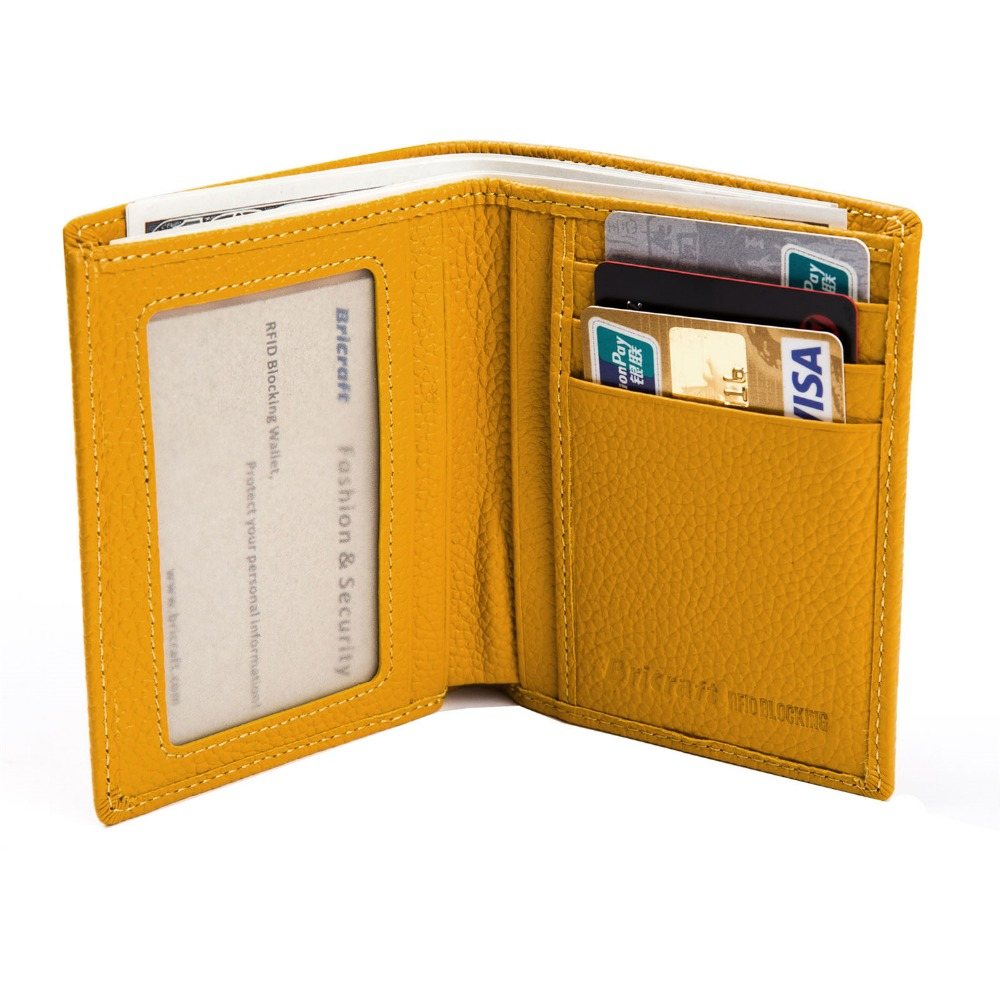 best sneakers b8687 3f0c1 US $17.99  Vertical Women Leather Wallet RFID Blocking Credit Card Holder  Ladies Pocket Safe Case Yellow Red-in Wallets from Luggage & Bags on ...