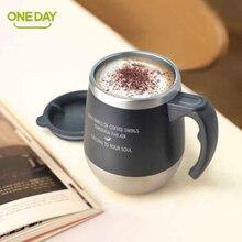 ONEDAY ミリリットルサーモカップコーヒーマグティーカップドリンクマグ魔法瓶フラスコ水タンブラーカバーブラックと水マグ 450
