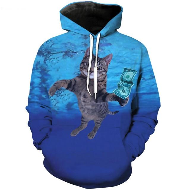 Jumeast Men/Women Cat Cobain Hoodies Sweatshirts 3D Print Hooded Sweats Tops Streetwear Unisex Hip Hop Pullover
