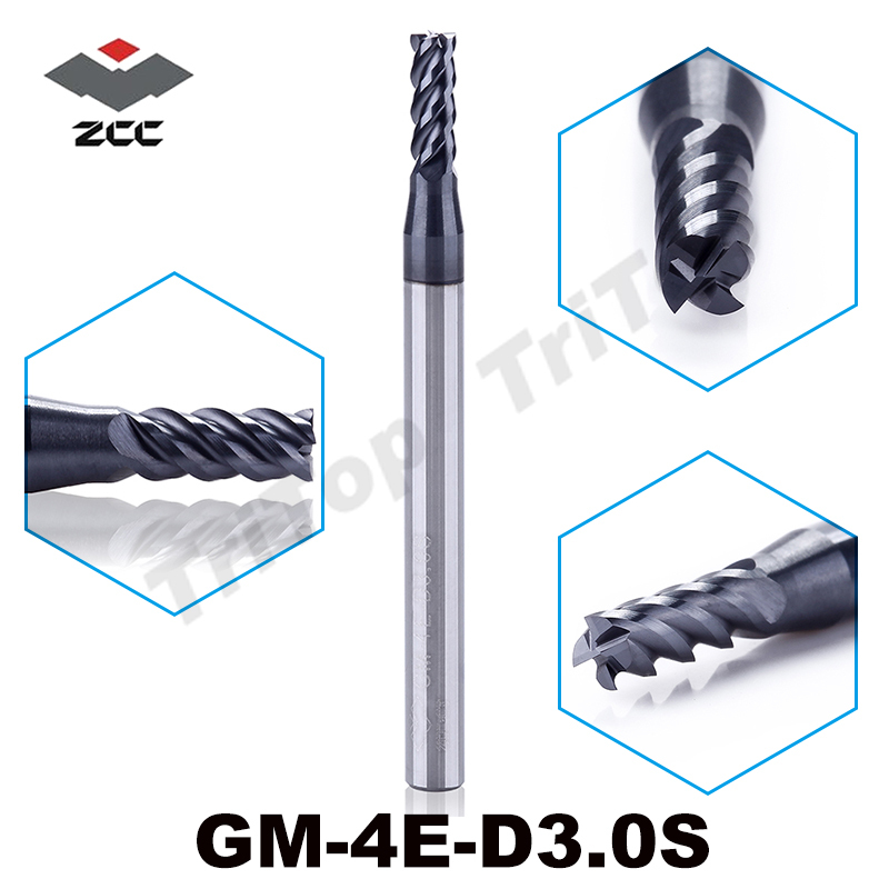 5pcs/lot HIGH SPEED ZCC.CT GM-4E-D3.0S Cemented Carbide 4 Flute 3mm Flattened End Mills With Straight Shank Cutting Tool
