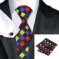 2016 Fashion Multi-Color Plaid Tie Hanky Cufflink Silk Necktie Ties For Men Formal Business Wedding Party C-423
