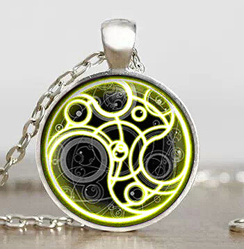 Steampunk drama doctor dr who gold line time lord Necklace 1pcs/lot bronze silver Glass Pendant jewelry chain 2017 vintage mens