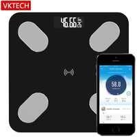 VKTECH S5 échelle de graisse corporelle sol scientifique intelligent électronique LED numérique poids salle de bains balances Balance Bluetooth APP Android IOS