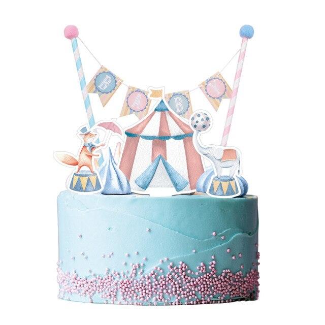 Vintage Circus Baby Shower Cake Topper Bunting Kit Cupcake Topper