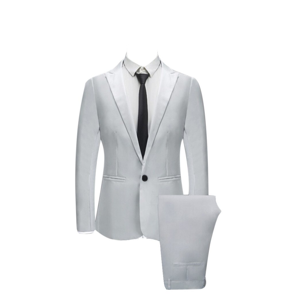 JAYCOSIN Jacket+Pant 2019 Men's Pure color suit Slim Fit fashion leisure wedding dress suits Man Business Men coat blazers