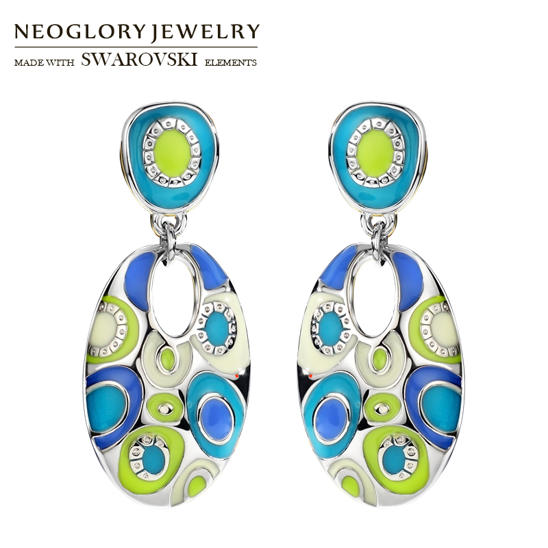 Neoglory Enamel Colorful Ethnic Bohemian Long Oval Drop - Նորաձև զարդեր - Լուսանկար 4