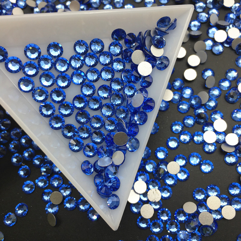 Good Quality Light Sapphire DIY Strass Crystal ss3-ss34 Non HotFix Nail Art Flatback Rhinestones for Clothes Decorations