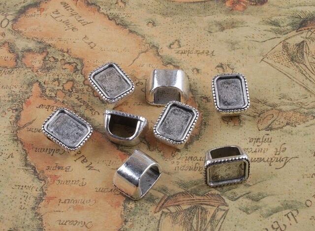 15 pièces tibétain argent 14x10mm Retangle Cabochon paramètres Bail anneaux A32128