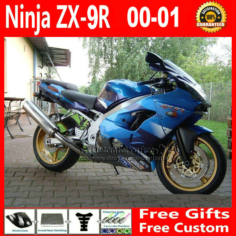 Compression mold blue custom fairing for Kawasaki fairing kits ZX9R 2000 2001 ZX 9R 00 01 Ninja customize body parts+7Gifts compression mold bodykit for kawasaki fairing kits zx9r 2000 2001 zx 9r 00 01 ninja customize green purple body parts 7gifts