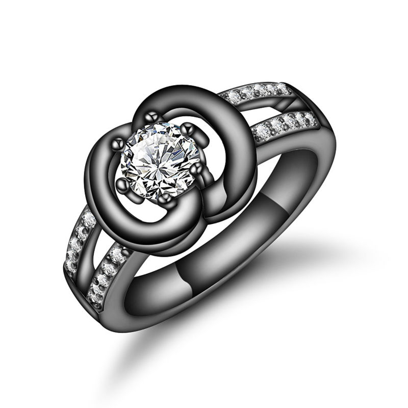 Size 8 Fashion Gold Black Ring Zircon Crystal Rhinestone Finger Rings Jewelry Women Charm Ring Plate Wedding Lady Lover Gift