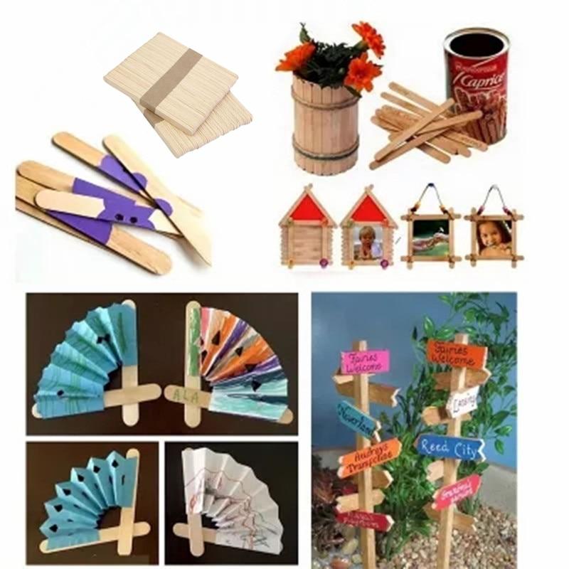50Pcs Wooden Pop DIY Craft Slim Sticks Small Cudgel for Roasting Ice Cream Maker