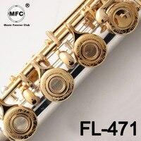 Music Fancier Club Intermediate Standards Flute FL 471 Gold Key Carved Floral Designs Flutes 17 Holes Closed Open Hole