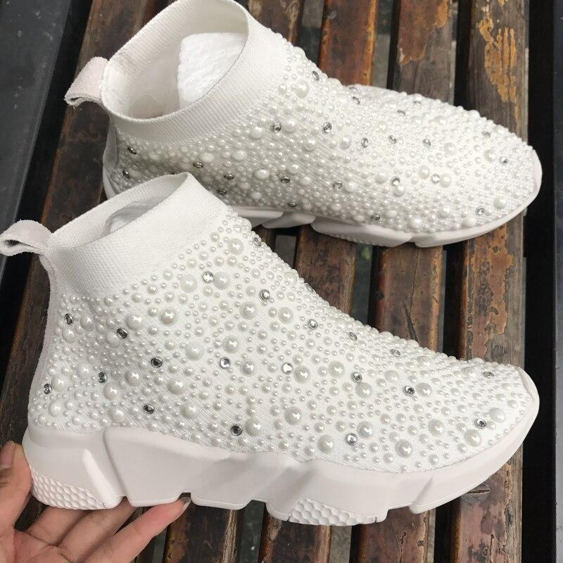 Myfitgo baskets cristal femmes chaussettes chaussures de luxe perles dames décontracté respirant chaussures femmes vulcaniser baskets strass Femme