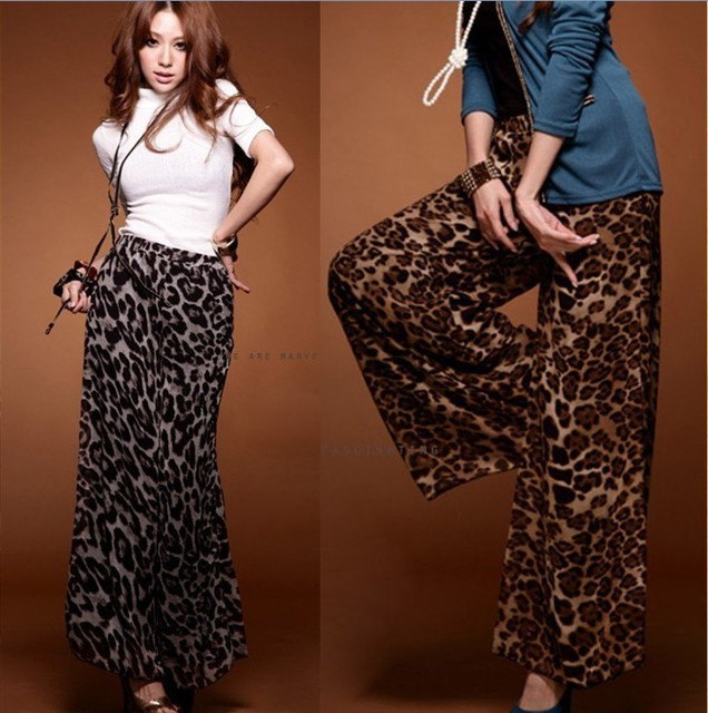 39b7523e51aa E6232 loose plus size slim leopard print wide leg pants skirt trousers  chiffon high waist fashionable casual trousers