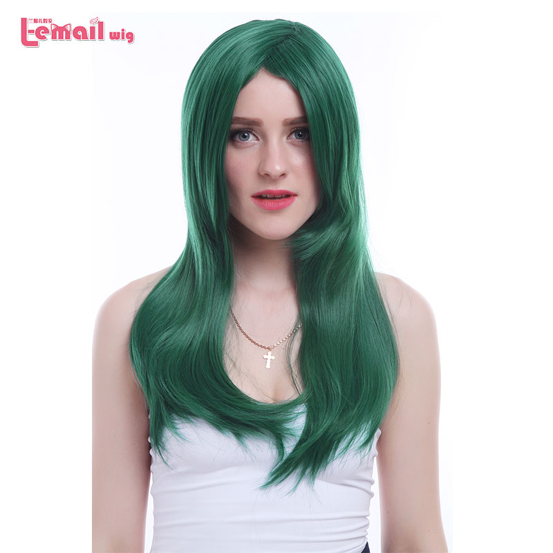 L email wig New Women 60cm Cosplay Wigs Long Dark green Straight High Temperature Fiber Synthetic Hair Perucas Cosplay Wig in Synthetic None Lace Wigs from Hair Extensions Wigs