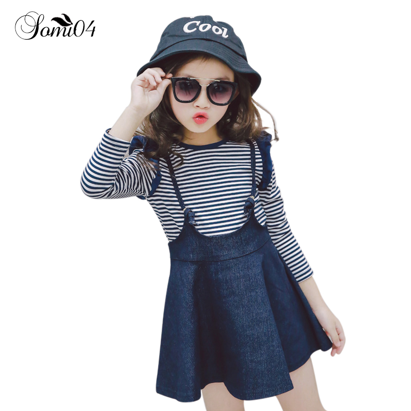 Children Clothing 2018 Spring Autumn Girls Dress Suits Ruffles Toddlers Kids Long Sleeve Striped Tops + Denim Overalls Dresses he hello enjoy girls clothes dress spring autumn kids dresses for girls long sleeve denim shirt bow suits children clothing set