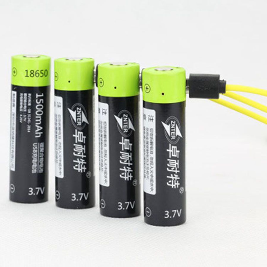 High Grade 18650 USB Rechargeable Battery Bateria 3.7V 1500mAh Lithium Li-ion Polymer Batteries Charged By Micro USB Cable