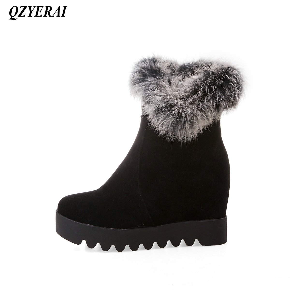 QZYERAI Winter rabbit hair thick soles womens boots inner height zippers womens shoes fashion womens boots in Ankle Boots from Shoes