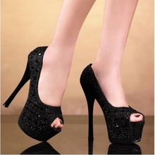 New Women Platform Pole Dance Shoes High Heels 16cm Sexy Pole Dancing Shoes Black White Rhinestone Club Wedding Party Shoes