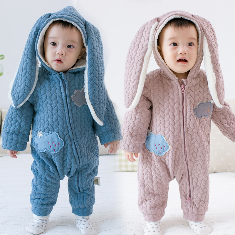 Baby Rompers Winter Thick Climbing Clothes Newborn Boys Girls Warm Romper Cotton Rabbit Ear Christmas Hooded Outwear 0 9months autumn winter baby girls boys rompers cartoon cute thick warm hooded jumpsuits newborn clothes infant clothing bc1225