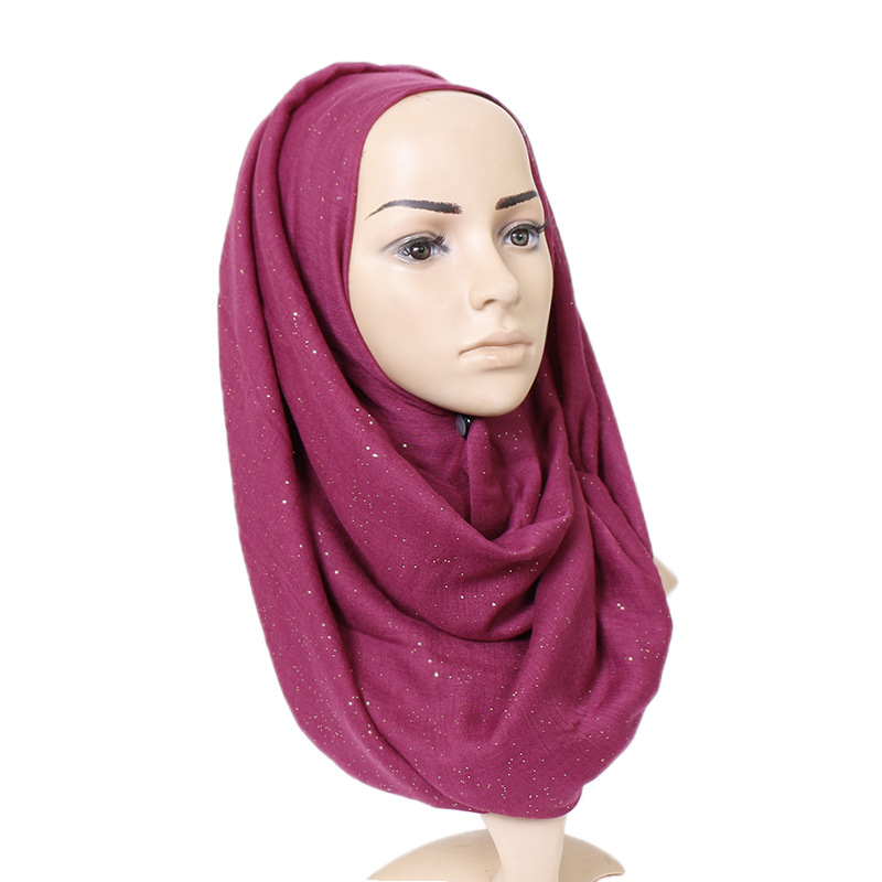 Women Glitter Viscose Hijab   Scarf   Solid Color Shimmer Muslim   Scarves     Wrap   Long Muslim Voile Islamic Shawls and   Wraps   180*90Cm