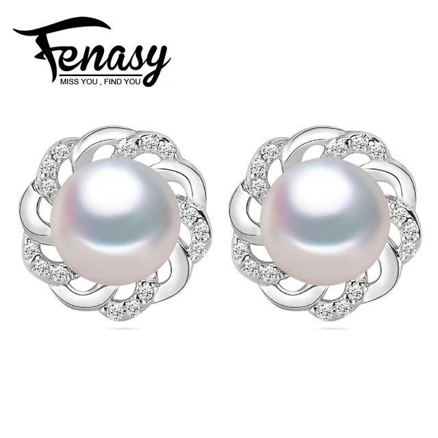 FENASY  natural Pearl earrings, Pearl with 925 Sterling Silver earrings,Birthday gift Jewelry  Accessories earrings for women