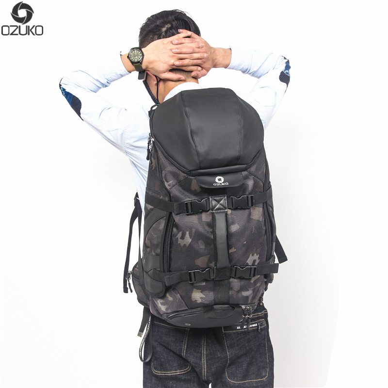 OZUKO fashion new computer backpack men's functional multi-function bag large size backpack men's camouflage travel backpack ozuko multi functional men backpack waterproof usb charge computer backpacks 15inch laptop bag creative student school bags 2018