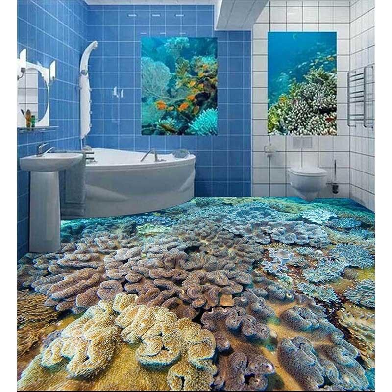 US $27.26 53% OFF|3D Boden Aufkleber Angepasst Riffe Foto Pvc tapete Für  Badezimmer Küche selbstklebende Wasserdichte Tapete #148 in 3D Boden ...
