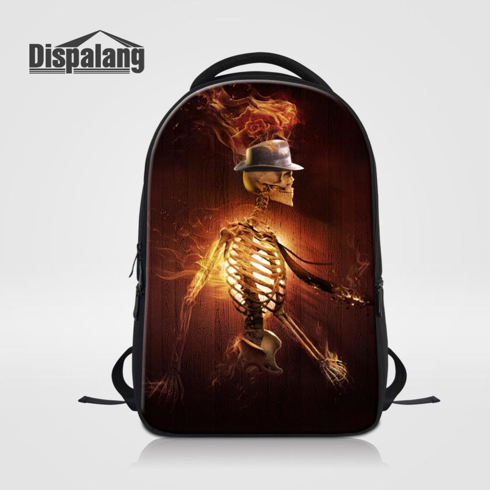 Dispalang Men Backpack Skull Skeleton Print Travel Rucksack School Book Bag Male Laptop Business Bagpack Mochila Shoulder Bag