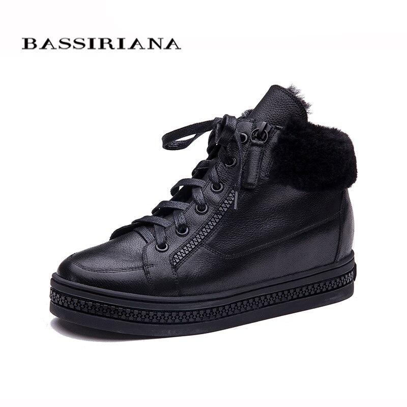 BASSIRIANA النساء أوكسفورد جديد الشتاء الجلود الدانتيل متابعة الارتفاع زيادة نعل جولة اصبع القدم عارضة السيدات أحذية منصة امرأة الأسود-في أحذية الكاحل من أحذية على  مجموعة 1