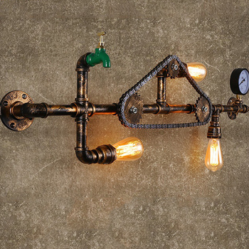 creative retro wall lights personality bar restaurant coffee director di iron corridor warehouse single head wall lamps Loft retro wall lamps chain water pipe tap lights industry wind bar cafe aisle stair pub club restaurant picture wall sconce bra