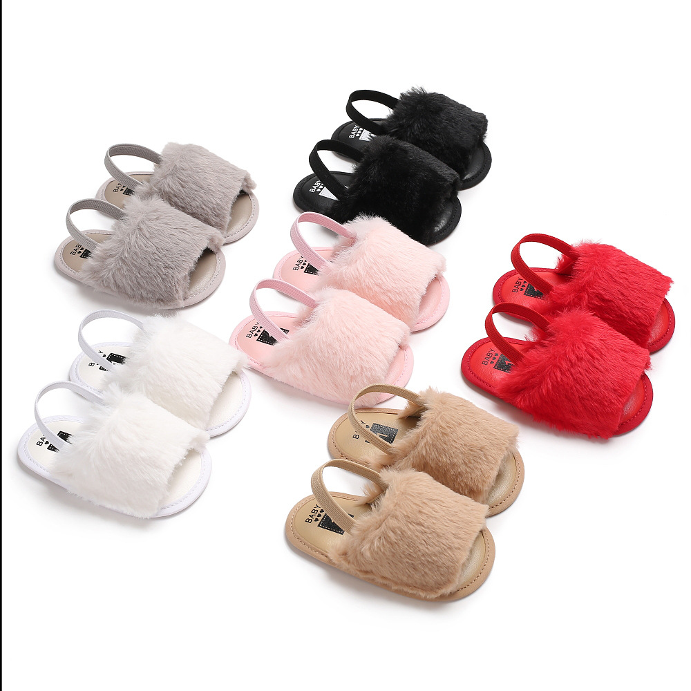 Faux Fur Baby Summer Shoes Cute Infant Baby Sandals Slippers / Girl baby toddler shoes