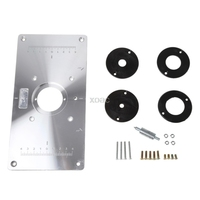Aluminum Router Table Insert Plate W 4 Rings Screws For Woodworking Benches M03 Dropship