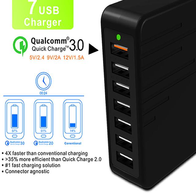 Qual Comm 3.0 Cargador Inteligente de Carga Rápida USB Cargador de Múltiples Dispositivos de Carga Rápida 7 Puertos Cargador de Pared EE. UU. Plug EM8