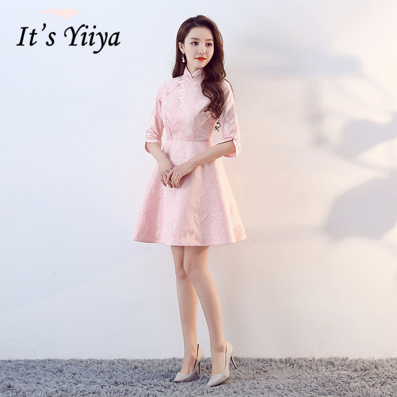 It's Yiiya Luxury Pink High Collar Half Sleeve Floral Print Button   Cocktail     Dresses   Knee-Length Party Formal   Dress   MX061