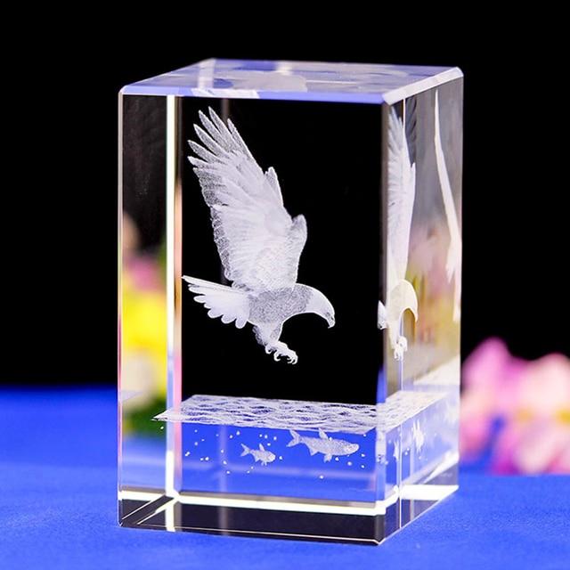 Eagle Laser Engraved Crystal Night Light Peace Dove Shape