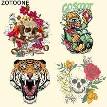 ZOTOONE Sugar Skull Patches Iron on Heat Transfer for Clothing Tiger Flower DIY Stripes Applique T-shirt Custom Sticker