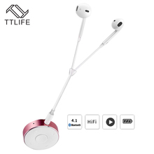 TTLIFE Bluetooth 4.1 Headphones Wireless Noise Reduction Earphone HiFi Stereo Earbuds with Mic Clip Metal Bluetooth Receiver Box
