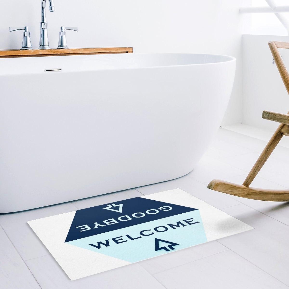 Light Blue And Navy Blue Hexagon Arrow Welcome Goodbye Greetings Pattern Symmetry Door Mats Kitchen Floor Bath Entrance Rug Mat