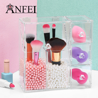 High Quality Clear Acrylic Pearl Box Cosmetic Case Lipstick Holder Makeup Organizer Cotton Swab Box Cosmetic Display With Drawer