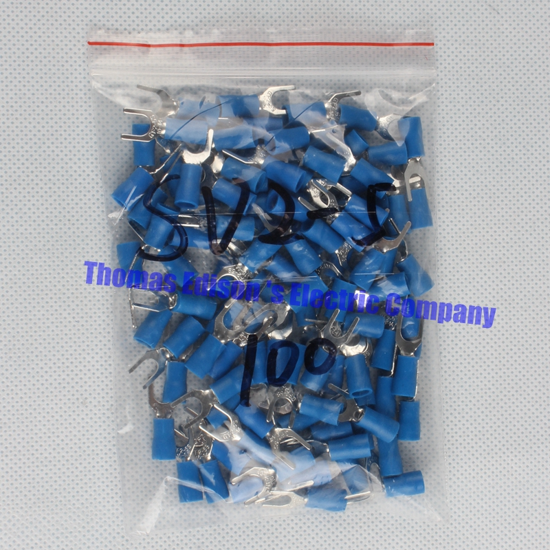 DIANQI SV2-5 Blue Furcate Insulated Wiring Terminals Cable Wire Connector 100PCS/Pack Insulating Cable Lug terminals SV2.5-5 SV 1000pcs red insulated furcate fork terminals cable lug awg16 14 sv1 25 4