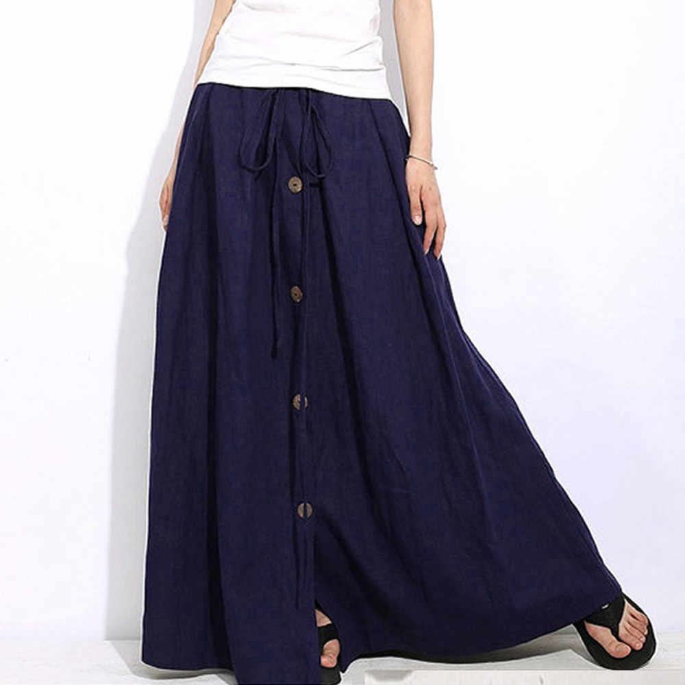 Damska linia elastyczna talia Casual Button Flare pełna długość długa długa spódnica 3.01