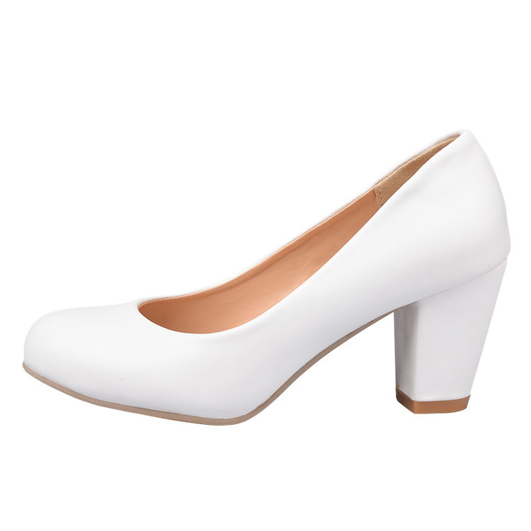 2018 Spring New Women's Shoes Solid Color Shallow High Heel Shoes Heel Shoes Shoes Women Custom Size 40 41 42 43 44 45 46.