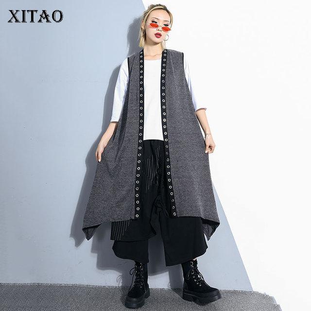 [XITAO] New Mùa Xuân 2019 Mùa Hè Hàn Quốc Thời Trang Mở Mở Khâu V-Cổ Không Tay Lỏng Lẻo Vest Nữ Màu Rắn Dài vest WBB2374