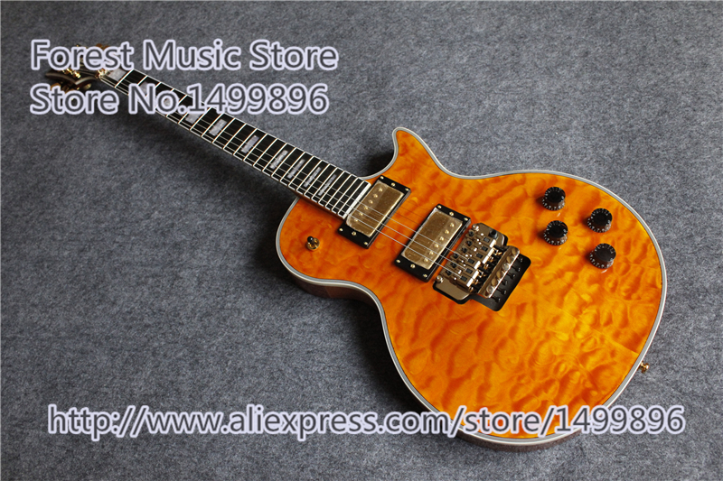 Hot Selling AL Signature LP Electric Guitars China Quilted Finish & Mahogany Guitar Body & Gold Floyd Rose Tremolo hot selling cheap price sg standard electric guitar bigpsy tremolo stain finish chinese guitars in stock for sale