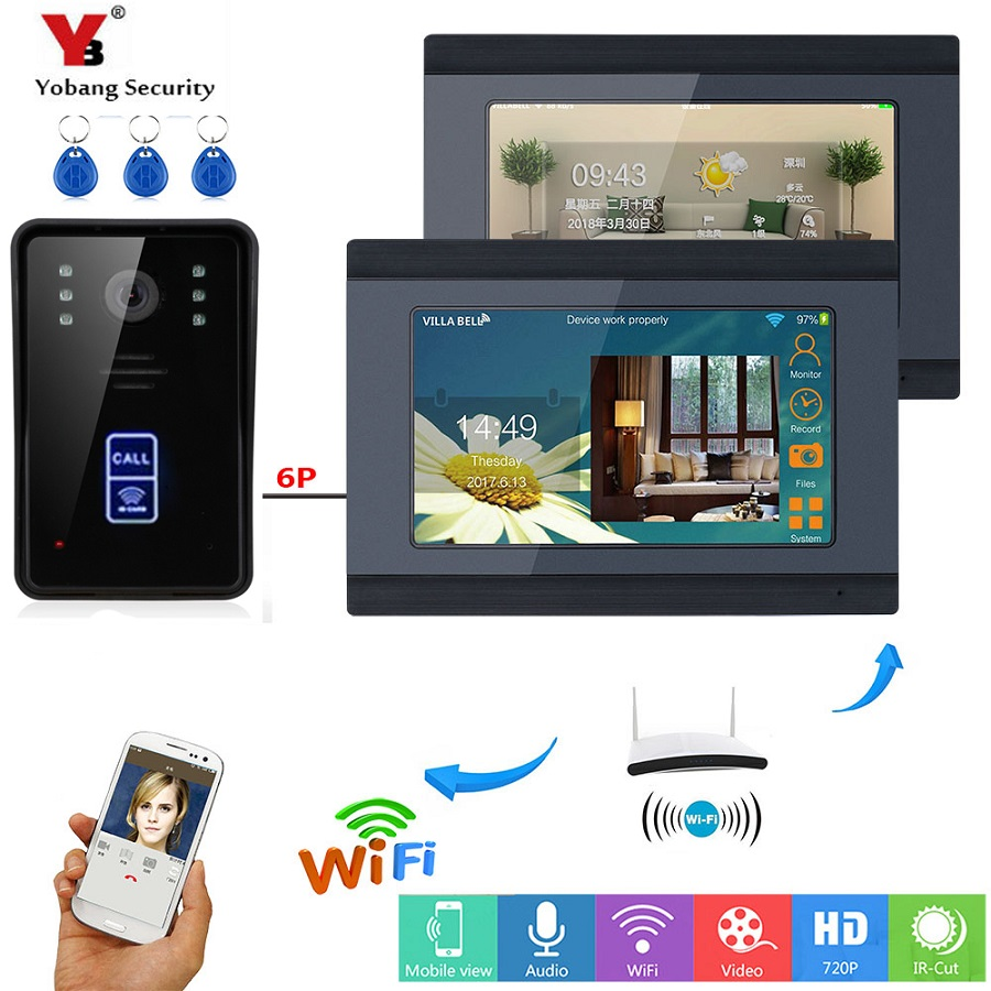 Yobang Security RFID Video Intercom Door Phone System Kit Wifi 7 Inch LCD Screen Wireless APP Remote Control Touch Keypad Unlock