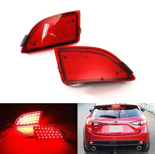 For Mazda 3 Axela BM 5D Hatchback 2014 Red Lens Bumper Reflector LED Tail Stop Light