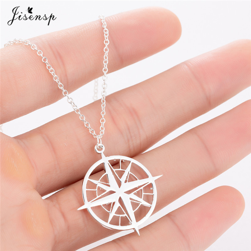 Delicate Necklace with Compass Pendant Minimalist Jewelry Stainless Steel Happiness Boutique Compass Necklace in Gold Color